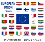 european union flags eu... | Shutterstock .eps vector #1047177136