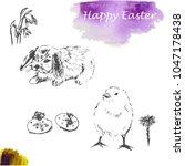 easter sketch set  rabbit ... | Shutterstock .eps vector #1047178438