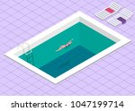 swimming pool. isometric... | Shutterstock .eps vector #1047199714