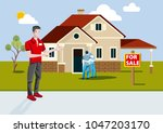 real estate agent selling a new ... | Shutterstock .eps vector #1047203170