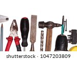 construction tooling on wooden... | Shutterstock . vector #1047203809