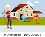 real estate agent selling a new ... | Shutterstock .eps vector #1047204076