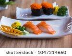 salmon sushi nigiri in white... | Shutterstock . vector #1047214660