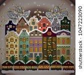 background. winter village... | Shutterstock .eps vector #1047223090