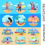 freelance summer people... | Shutterstock .eps vector #1047229783