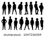 set of silhouettes of boys in... | Shutterstock .eps vector #1047236509