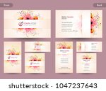 horizontal business card with... | Shutterstock .eps vector #1047237643
