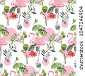 tropical seamless pattern with... | Shutterstock .eps vector #1047246904