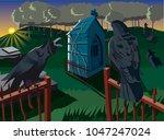 sunrise on cemetery | Shutterstock .eps vector #1047247024