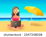 young woman using laptop...   Shutterstock .eps vector #1047248038