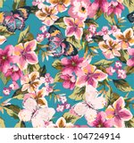 butterfly with floral seamless... | Shutterstock .eps vector #104724914
