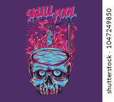 skull pool illustration   Shutterstock .eps vector #1047249850
