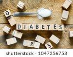 diabetes block letters in... | Shutterstock . vector #1047256753