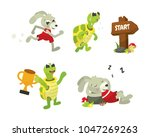 Stock vector the tortoise and the hare story book vector illustration collection 1047269263