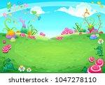 landscape with fantasy natural... | Shutterstock .eps vector #1047278110