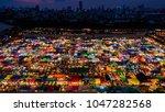 night view of the train night... | Shutterstock . vector #1047282568