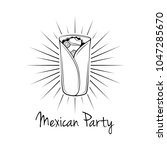 burrito in beams. mexican party.... | Shutterstock . vector #1047285670