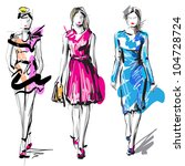 Fashion Models. Sketch. Raster...