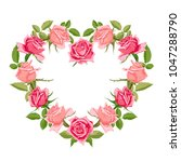hand drawn floral wreath with... | Shutterstock .eps vector #1047288790