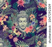 Stock photo seamless watercolor hand drawn pattern with buddha head leaves flowers feathers vintage style 1047292309
