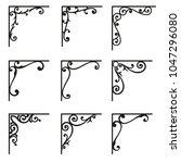 set of ornamental corners in... | Shutterstock .eps vector #1047296080
