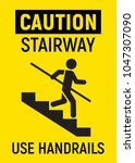caution stairway. avoid a fall  ... | Shutterstock .eps vector #1047307090