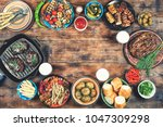 barbecue picnic in honor of... | Shutterstock . vector #1047309298