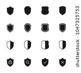 shields silhouettes icons set | Shutterstock .eps vector #1047325753