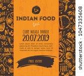 indian food menu background... | Shutterstock .eps vector #1047335608