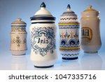 antique pharmacy jars of... | Shutterstock . vector #1047335716