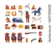western wild west pixel art... | Shutterstock .eps vector #1047335830