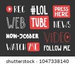video blogging set. typography... | Shutterstock .eps vector #1047338140
