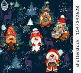 christmas pattern with dwarfs... | Shutterstock .eps vector #1047342628