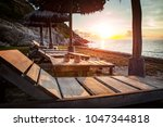 beautiful sunset sky and wood... | Shutterstock . vector #1047344818