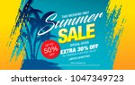 summer sale banner layout... | Shutterstock .eps vector #1047349723