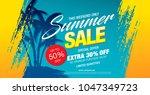 summer sale banner layout... | Shutterstock .eps vector #1047349723