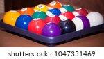 billiards  billiard balls ... | Shutterstock . vector #1047351469