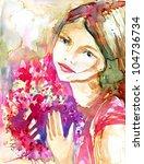beautiful young girl zbukietem... | Shutterstock . vector #104736734
