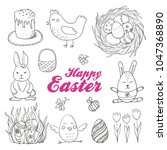 vector set of isolated easter... | Shutterstock .eps vector #1047368890