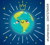 cartoon earth with crown ... | Shutterstock .eps vector #1047370459