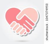 heart handshake icon | Shutterstock .eps vector #1047374953