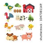 cute farm animals vector set   Shutterstock .eps vector #1047381169