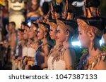 traditional dress khmer dance... | Shutterstock . vector #1047387133