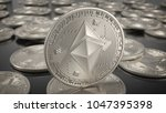 ethereum coins. cryptocurrency... | Shutterstock . vector #1047395398