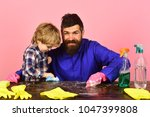 man with smile and child... | Shutterstock . vector #1047399808