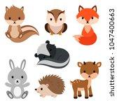 woodland animals set. | Shutterstock .eps vector #1047400663