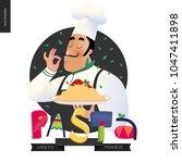 italian restaurant set  ... | Shutterstock .eps vector #1047411898