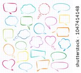 set of hand drawn colored... | Shutterstock .eps vector #1047414148