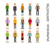 old people. set of diverse... | Shutterstock .eps vector #1047415756