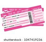 flight tickets. two pink... | Shutterstock . vector #1047419236
